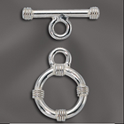 STERLING SILVER 14MM ROUND TOGGLE CLASP W/RINGS